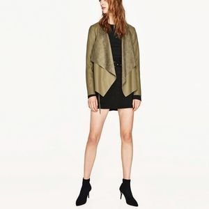 ZARA Basic Olive Green Faux Leather Drape Effect